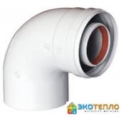 Коаксиальный промежуточный угол 60/100/90° для подключения дымохода конденсационного котла