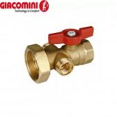 """Шаровой клапан с выводом 1/2"""" для термометра R540 и 18- миллиметровым выводом для котельного блока 1"""" x 1 1/2"""""""