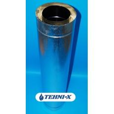 Труба из нержавеющей стали толщиной 0,8 мм с термоизоляцией в оцинкованном кожухе длинна 0,5 м, Ø 120x180 мм (Сэндвич)