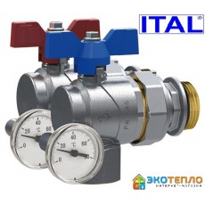 """Кран с американкой и термометром 1"""" ITAL угловой полнопроходной"""