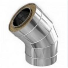 Колено утеплённое 45º из нержавеющей стали толщиной 0,5 мм с термоизоляцией в оцинкованном кожухе Ø 120x180 мм (Сэндвич)