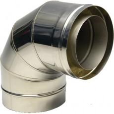 Колено утеплённое 90º из нержавеющей стали толщиной 0,5 мм с термоизоляцией в оцинкованном кожухе Ø 120x180 мм (Сэндвич)