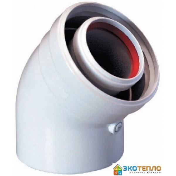Коаксиальный промежуточный угол 60/100/45° для подключения дымохода конденсационного котла