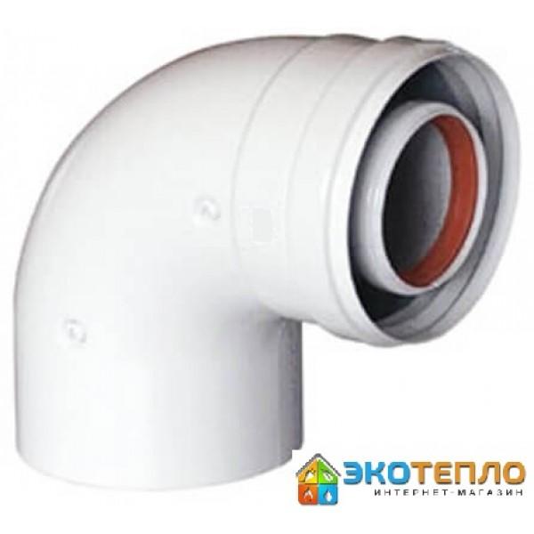 Коаксиальный промежуточный угол 60/100/90° для подключения дымохода традиционного котла