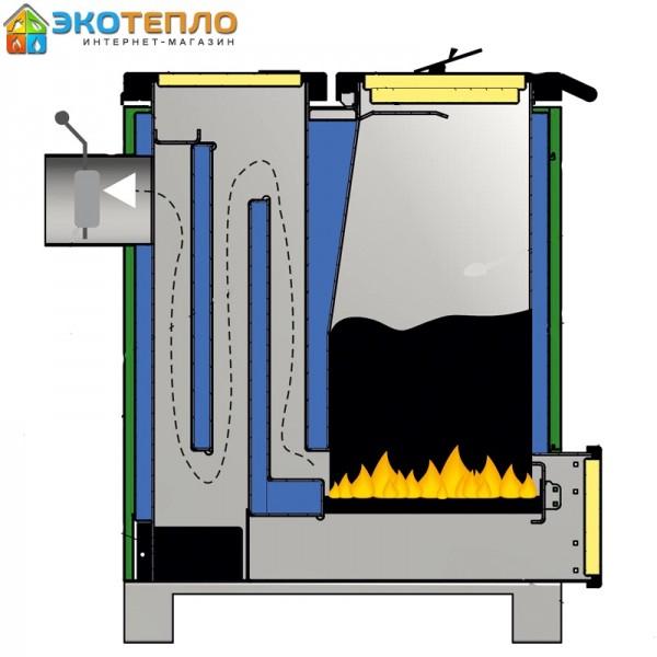 Котел на твердом топливе для отопления 30 кВт длительного горения