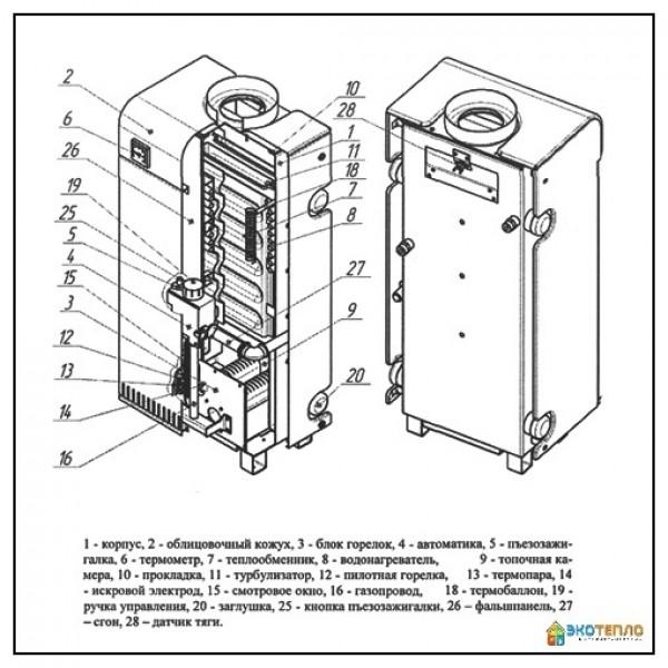 Аппарат отопительный газовый водяной Вулкан Корди 12E