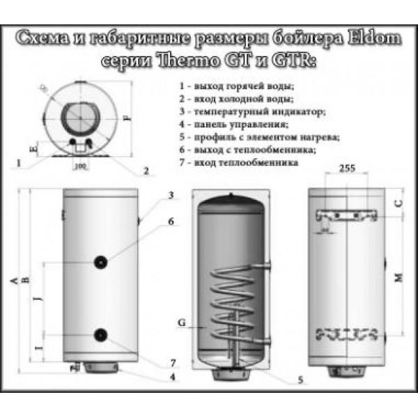 Бойлер Eldom Thermo 120л. косвенного нагрева (левое подключение)