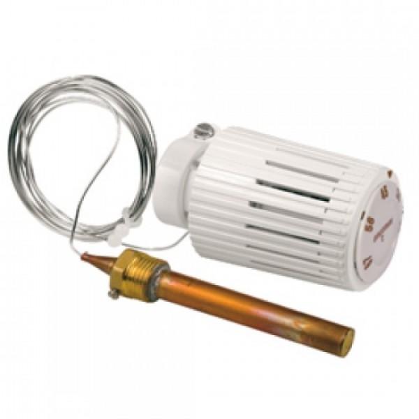 """Термостатическая головка Giacomini для контроля температуры теплоносителя и лучистого напольного отопления с фитингом 1/2"""" НР с гильзой для капиллярной трубки. 2 MT"""