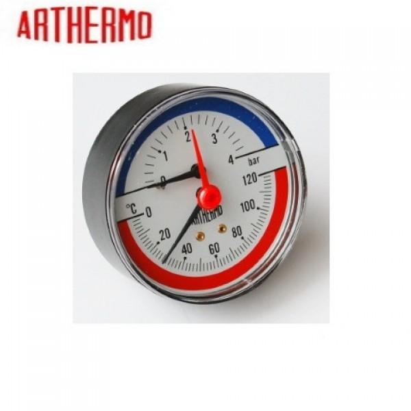 Термоманометр радіальний (Ø80 мм, 0-6 бар, 0-120°С), нижний выход, ARTHERMO